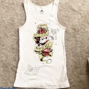 Disney Mickey Mouse Ribbed White Tank Roses Sz L